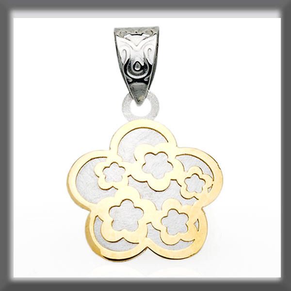 FLOWER PENDANT  STAINLESS STEEL AND GOLD WITH FLOWER INSETS
