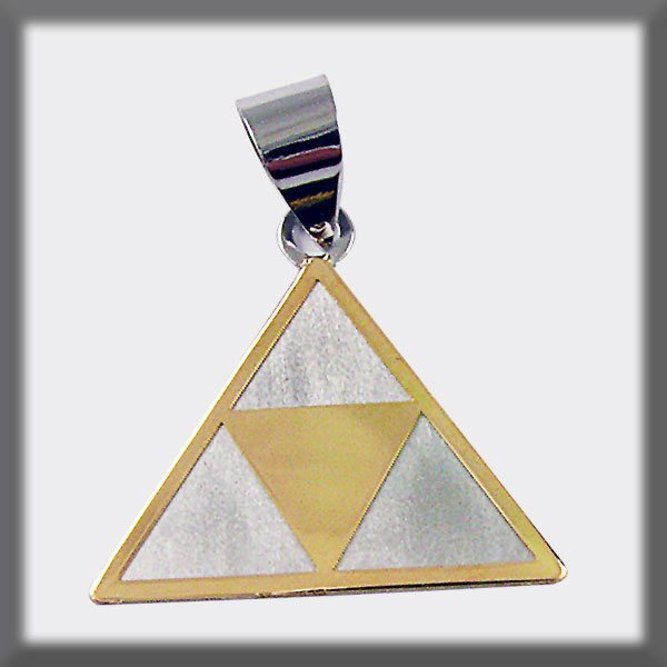 PENDANT STAINLESS STEEL AND GOLD PINTADERA TRIANGLE IN GOLD