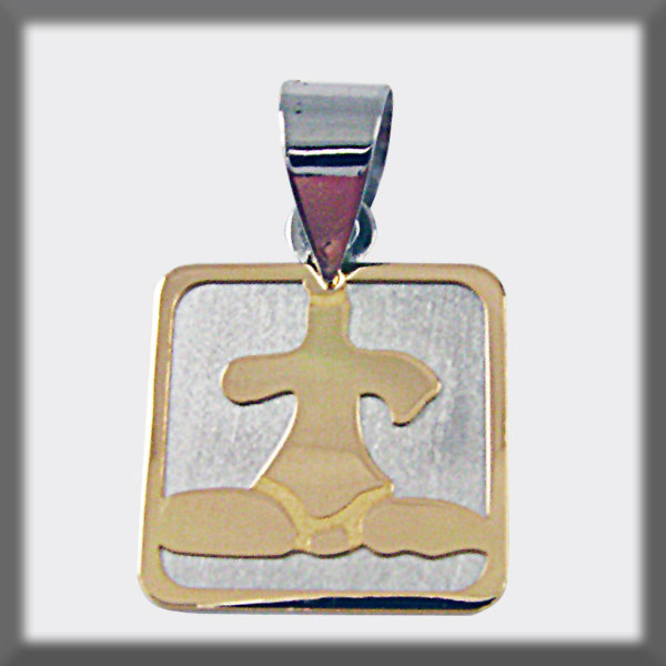 PENDANT STAINLESS STEEL AND GOLD SQUARE IDOLE OF TARA IN GOLD