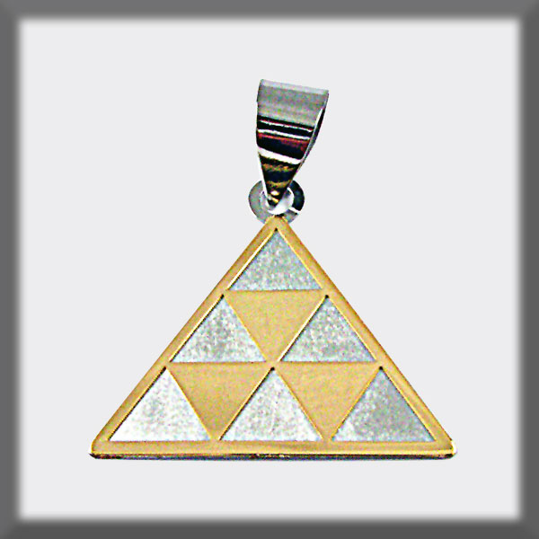 PENDANT STAINLESS STEEL AND GOLD PINTADERA THREE TRIANGLES IN GO