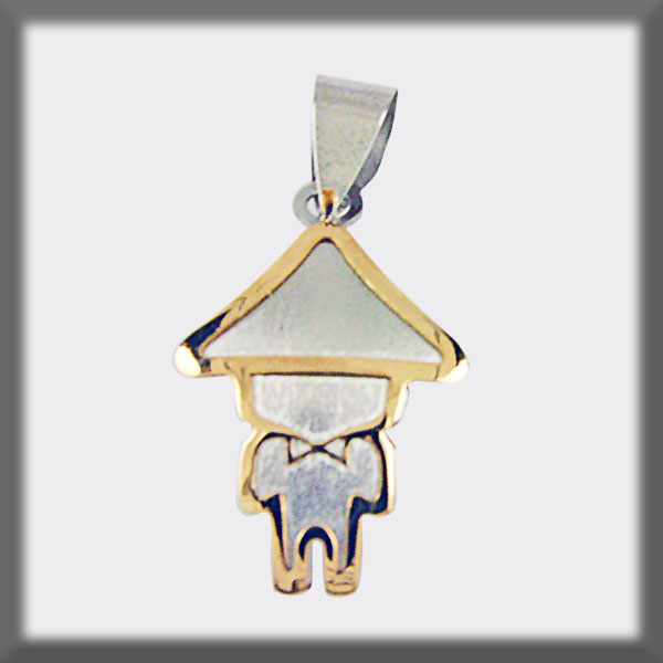 PENDANT STAINLESS STEEL AND GOLD SILHOUETTE DWARF OF PALMA