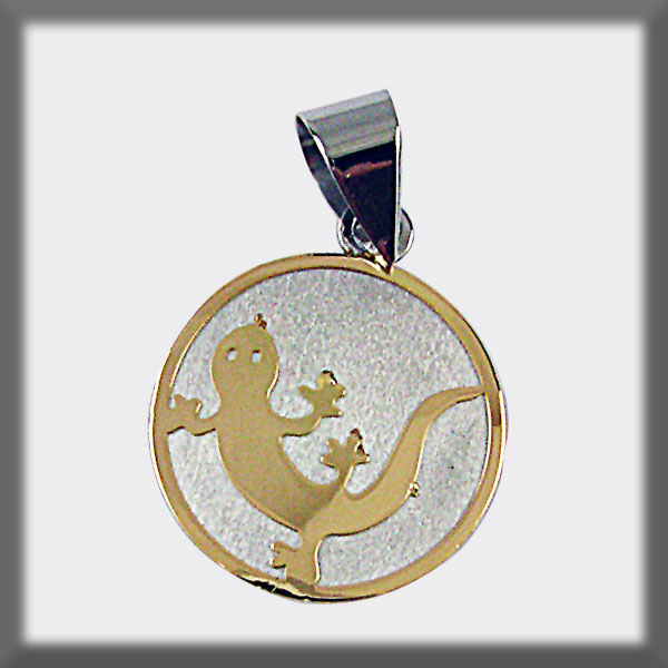 PENDANT STAINLESS STEEL AND GOLD ROUND SHAPE SALAMANDRA IN GOLD