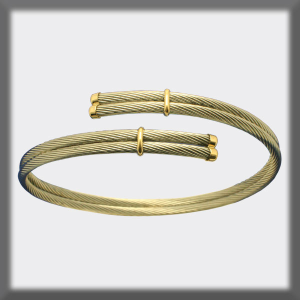 WOVEN DOUBLE-STRAND BRACELET IN STAINLESS STEEL WITH GOLD ENDING
