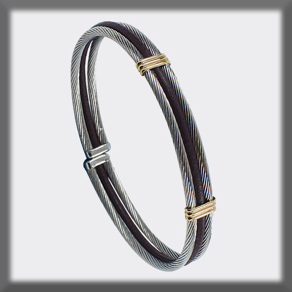 BRACELET STAINLESS STEEL AND GOLD, LEATHER 2 CABLES 2,5 mm TWO B