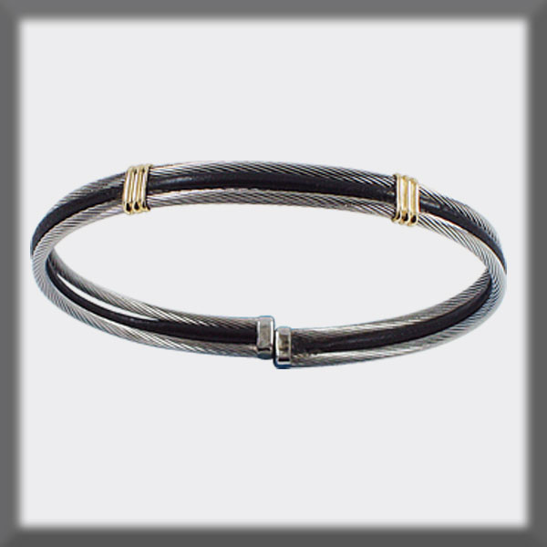 BRACELET STAINLESS STEEL AND GOLD, LEATHER 2 CABLES 2 mm TWO BAN