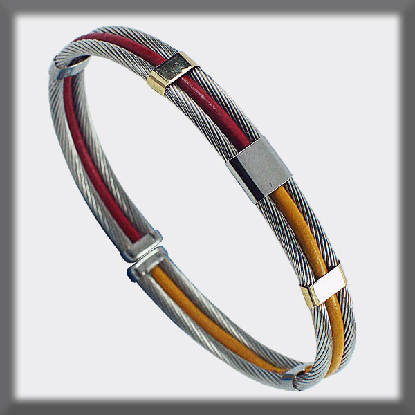 BRACELET STAINLESS STEEL AND GOLD, LEATHER 2 CABLES 2,5 mm ONE B