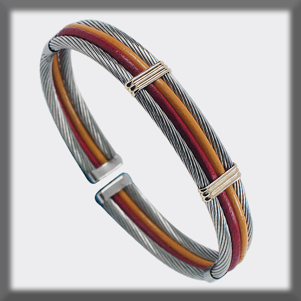 BRACELET STAINLESS STEEL AND GOLD, LEATHER 2 CABLES 3 mm TWO BAN