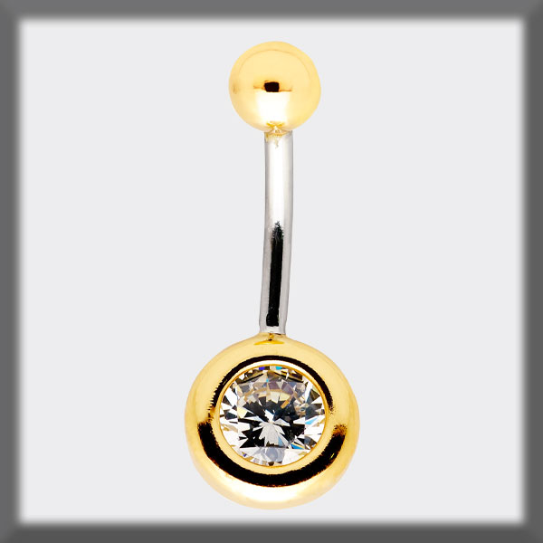 PIERCING NAVEL IN STAINLESS STEEL AND IN GOLD, MOTIF IN GOLD