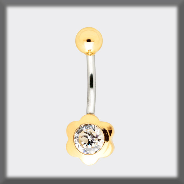 PIERCING NAVEL IN STAINLESS STEEL AND IN GOLD, FLOWER 6 PETALS I