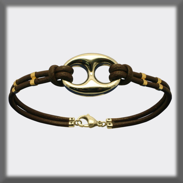 BRACELET IN BROWN OR BLACK LEATHER AND WITH MOTIF , 4 TUBES IN G