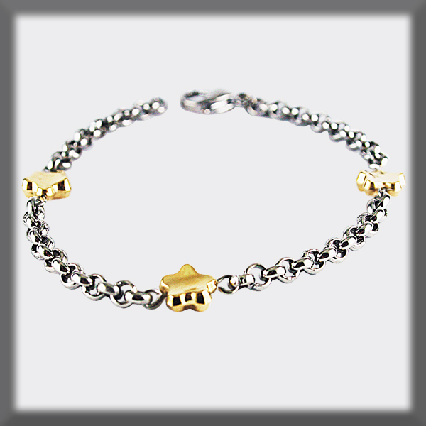 4mm BRACELET IN STAINLESS STEEL, 3 CONCAVE STARS IN GOLD