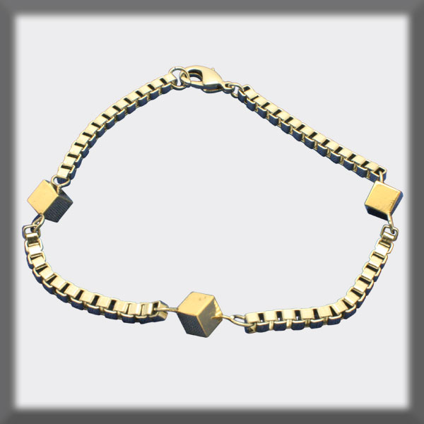 VENITIAN CHAIN BRACELET IN STAINLESS STEEL,  3 SQUARES IN GOLD