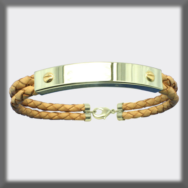 BRACELET IN STAINLESS STEEL, GOLD AND LEATHER,  8X4 mm RECTANGUL