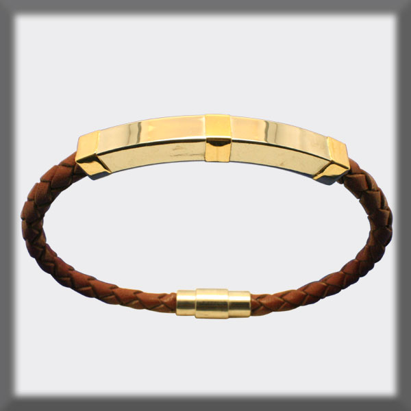 BRACELET IN STAINLESS STEEL, GOLD AND LEATHER,  4mm SQUARE TUBE,