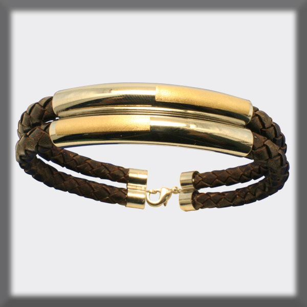 BRACELET IN STAINLESS STEEL, GOLD AND LEATHER,  2-5mm ROUND TUBE