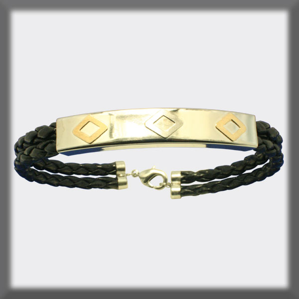 BRACELET IN STAINLESS STEEL, GOLD AND LEATHER, RECTANGULAR TUBE