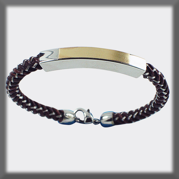 BRACELET IN STAINLESS STEEL AND GOLD, LEATHER AND SQUARE STAINLE