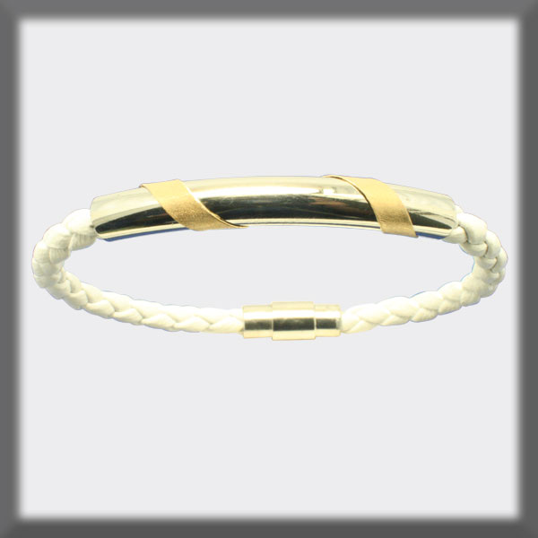 BRACELET IN STAINLESS STEEL, GOLD AND LEATHER, 4mm ROUND TUBE, 2