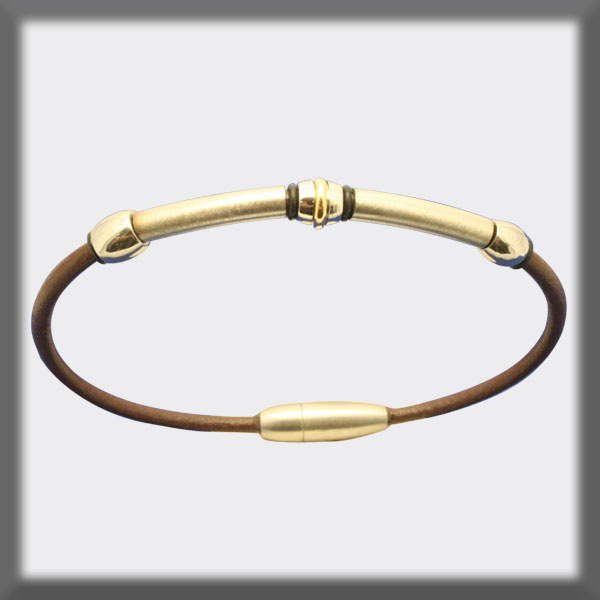 BRACELET IN STAINLESS STEEL, GOLD AND LEATHER, 2,5 mm, OVAL TUBE
