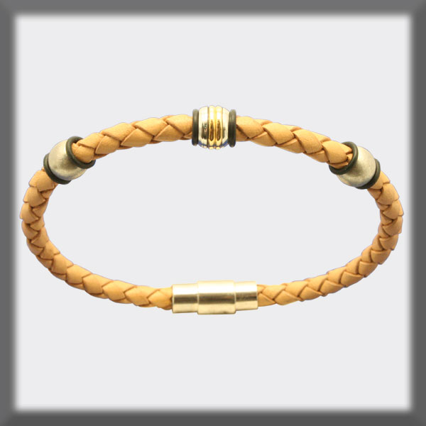 BRACELET IN STAINLESS STEEL, GOLD AND LEATHER, 4mm, BALLS IN STA