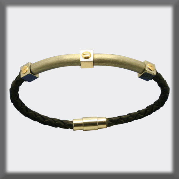 BRACELET IN STAINLESS STEEL, GOLD AND LEATHER, 4mm, FINNISHED TU