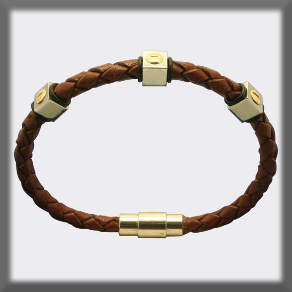 BRACELET IN STAINLESS STEEL, GOLD AND LEATHER, 4mm, SCREW IN STA