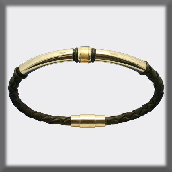 BRACELET IN STAINLESS STEEL, GOLD AND LEATHER, 4mm, SHINY TUBES