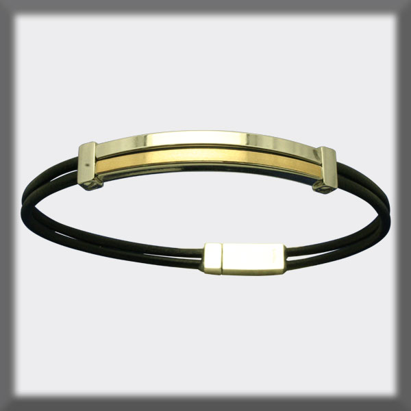 BRACELET IN STAINLESS STEEL, GOLD AND LEATHER, 2mm, SQUARE TUBE