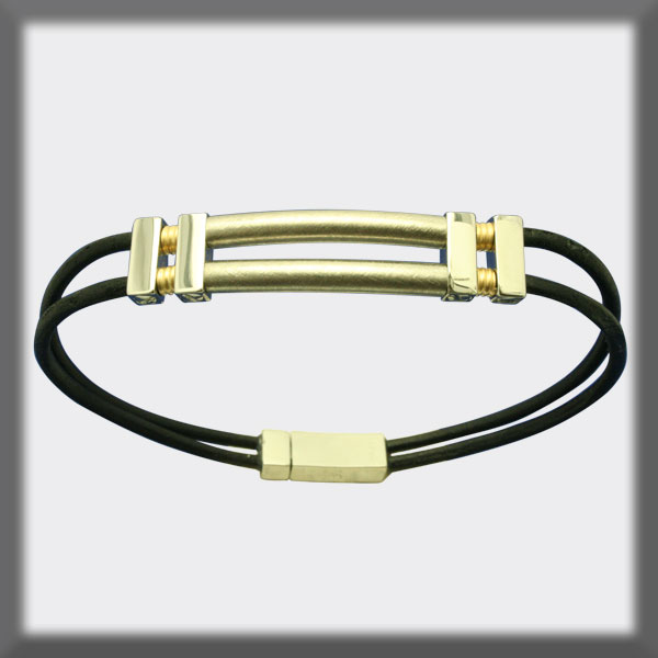 BRACELET IN STAINLESS STEEL, GOLD AND LEATHER, 2 mm, FINNISHED T