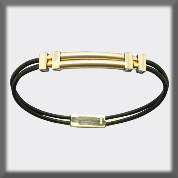 BRACELET IN STAINLESS STEEL, GOLD AND LEATHER, 2 mm, 2 FINNISHED