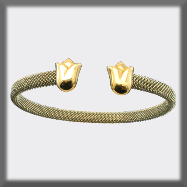 BRACELET IN STAINLESS STEEL AND IN GOLD, 6mm MESH, TULIPS IN GOL