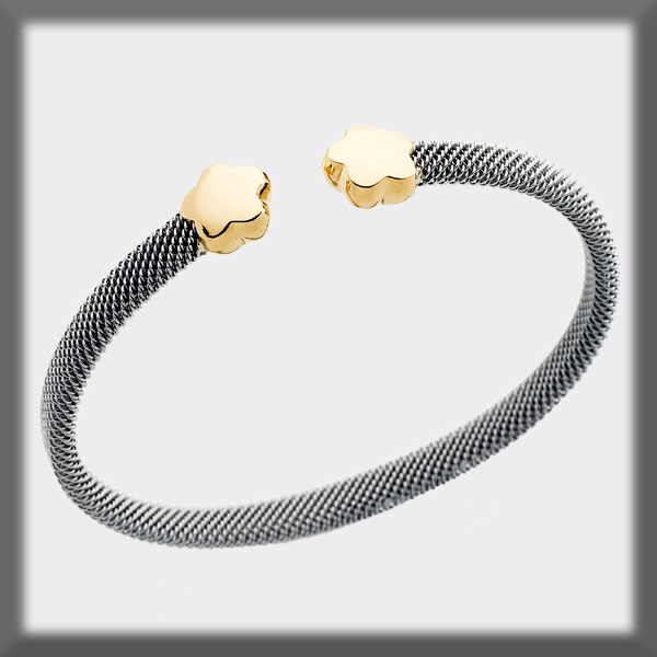 BRACELET IN STAINLESS STEEL AND IN GOLD, 6mm MESH, FLOWERS IN GO
