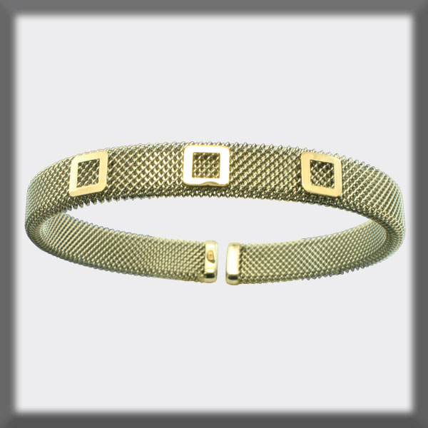 BRACELET IN STAINLESS STEEL AND IN GOLD, 8mm MESH, 3 SQUARES IN