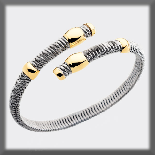 BRACELET IN STAINLESS STEEL AND IN GOLD , MESH, 1/2 STEM, 4 MOTI