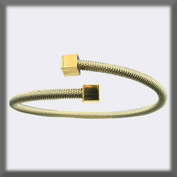BRACELET IN STAINLESS STEEL AND IN GOLD, 4mm ROUND MESH, 2 CUBES