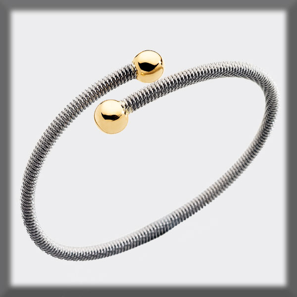 BRACELET IN STAINLESS STEEL AND IN GOLD, 4mm TUBE SHAPED MESH, 2