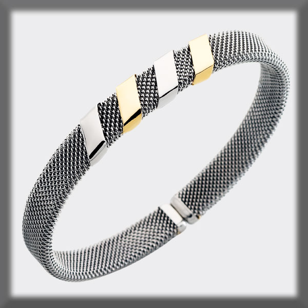 BRACELET IN STAINLESS STEEL AND IN GOLD, 8mm MESH, 2 BANDS IN ST