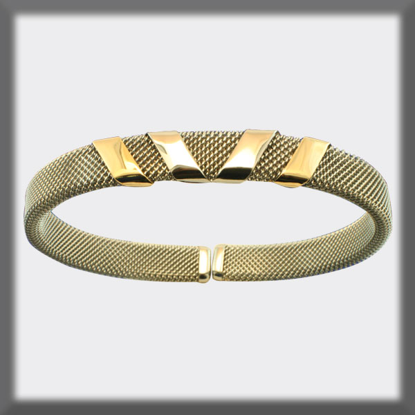 BRACELET IN STAINLESS STEEL AND IN GOLD, 8mm MESH, 4 BANDS, 2 IN