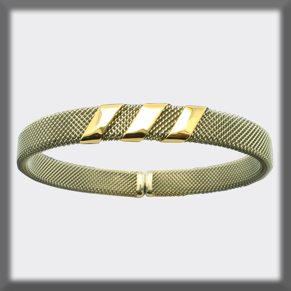 BRACELET IN STAINLESS STEEL AND IN GOLD, 8mm MESH, 3 BANDS IN GO