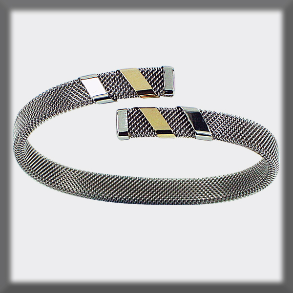 BRACELET IN STAINLESS STEEL AND GOLD, MESH 8 mm , 2 BANDS IN GOL