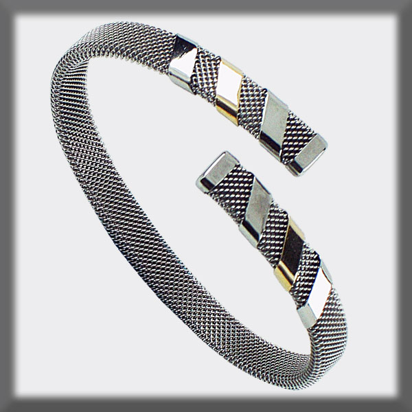 BRACELET IN STAINLESS STEEL AND GOLD, MESH 8 mm , 4 BANDS IN STA