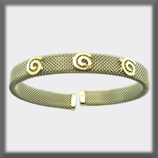 BRACELET IN STAINLESS STEEL AND IN GOLD, MESH 8 mm, ROUND MOTIFS