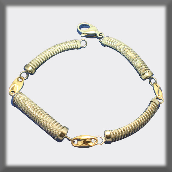 BRACELET IN STAINLESS STEEL AND IN GOLD, BETWEEN PIECE, 1/2 STEM