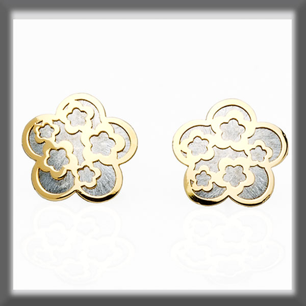 EARRINGS IN STAINLESS STEEL AND IN GOLD LARGE FLOWER WITH FLOWER