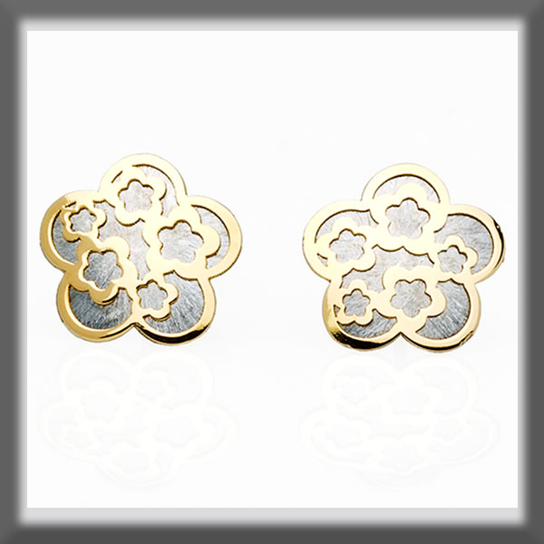 EARRINGS IN STAINLESS STEEL AND IN GOLD , LITTLE FLOWER WITH FLO