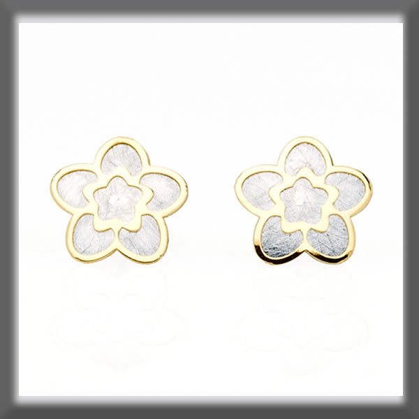 EARRINGS IN STAINLESS STEEL AND IN GOLD, 5 EXTENDED PETALS