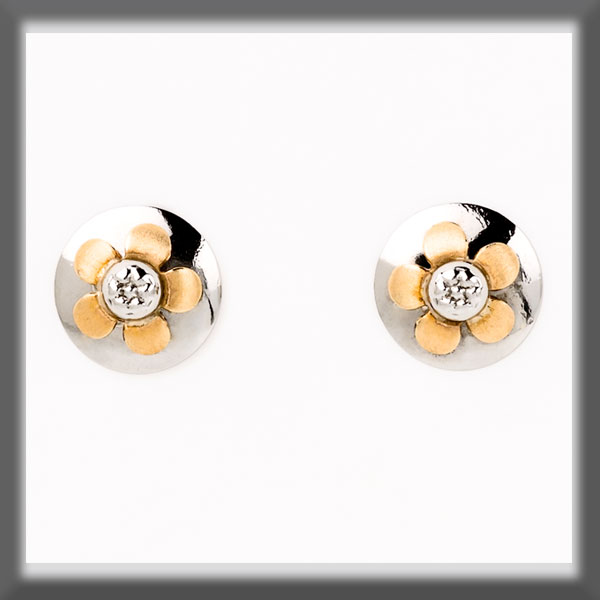 EARRINGS IN STAINLESS STEEL AND IN GOLD, DISC 8 mm, FLOWER 5 PET