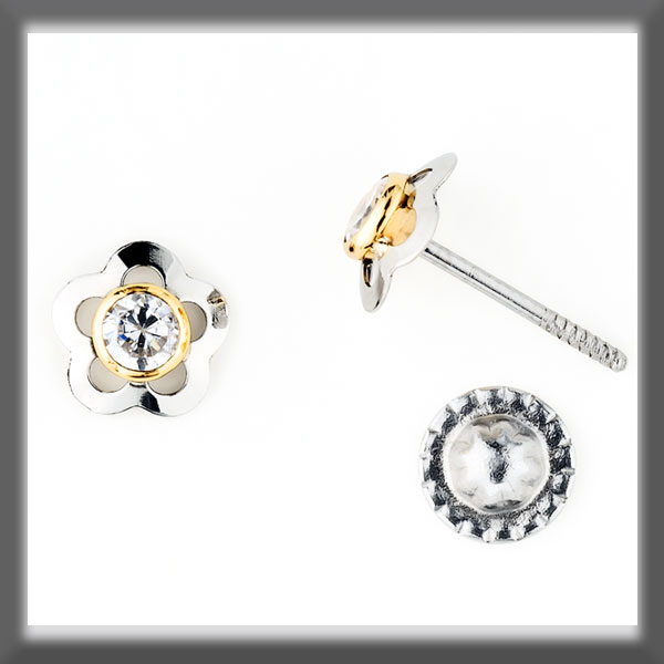 EARRINGS IN STAINLESS STEEL AND IN GOLD, 5 PETALS, MOTIF