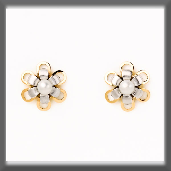 EARRINGS IN STAINLESS STEEL AND IN GOLD , PEARL 3 mm, GOLD BORDE