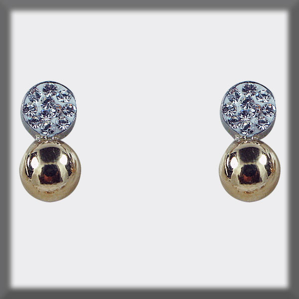 EARRINGS IN STAINLESS STEEL AND GOLD, GOLD BALL 5 mm,  ROUND SET